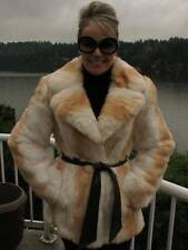 White Tan Rabbit Fur Belted Jacket Coat M #837A FOX y! Softer than Mink!