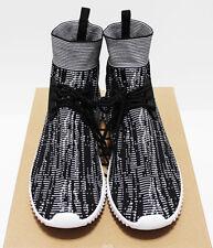 New 100Zi Men's Black-Streaking Lace-Up Sock Knit High Top Sneakers 10.5 44-Eu