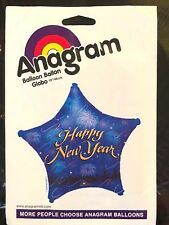 """Happy New Year Blue Star Party Celebration Foil Air Helium Balloon 19"""" Anagram"""
