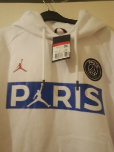 brand New Nike Men's white Jordan Paris Jumpman Fleece Hoodie Black Size L