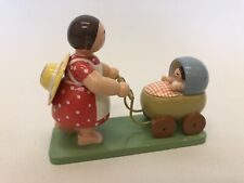 Vintage Wooden Figurine Mother & Baby In A Pram By Wendt & Kühn