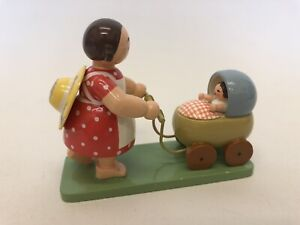 Vintage Wooden Figurine Mother & Baby In A Pram By Wendt & Kühn
