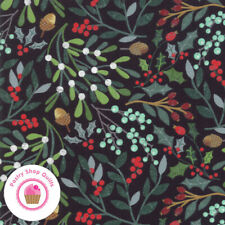 Moda KRINGLE AND CLAUS 30590 12 Black Holly BASIC GREY Quilt Fabric CHRISTMAS