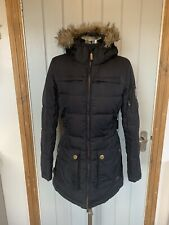 KARRIMOR FEATHER & DOWN BLACK LONG QUILTED PADDED FUR TRIM HOODED COAT SIZE 10