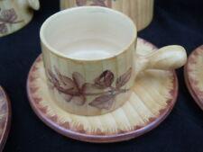 Service café décor faux bois céramique Grandjean-Jourdan Vallauris