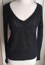 Hilfiger Denim Dark Grey V Neck Long Sleeve Sweater Women's L