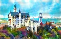 PRINT Neuschwanstein German Castle Fine Art Expressionist Painting Wall Art 17""