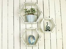 Shabby Chic Hexagon Shelves Black And White Set Of 3 Wooden Shelves Wall Shelf.
