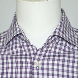 HUGO BOSS Miles Sharp Fit Purple White Check Cotton Dress Shirt Sz 15 32/33