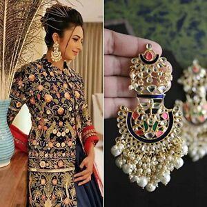 Indian Bollywood Ethnic Multi Pearl Kundan Earing Jhumka Wedding Fashion Jewelry