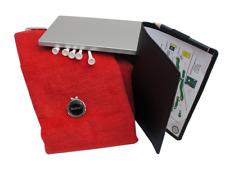 Set: Caddytuch + Cap-Clip + Golfball Marker personalisiert + Scorecard-Mappe