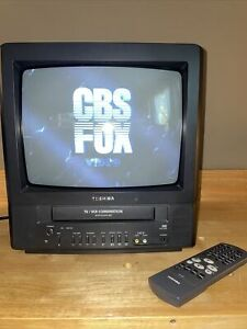 """Toshiba MV13N2W 13"""" CRT TV VCR VHS Tape Player Combo Gaming TESTED With Remote"""