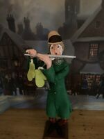 Simpich Man Plays Flute Character Doll Christmas Carol