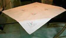"""Table Cloth Hand Embroidered White 33"""" x 34"""""""