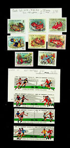 COOK ISLANDS FOOTBALL WORLD CUP SPAIN MARINE SPECIES 4 PAIR+8v MNH STAMPS CV $12