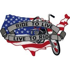 """Country Map """"Ride to Live, Live to Ride"""" Motorcycle Patch  6"""" x 9.5"""""""