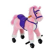 HOMCOM Wheeled Rocking Horse Ride on Rocker Children Riding Toy Plush Pink Sound