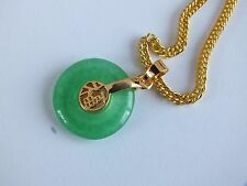 CHINESE GREEN JADE GOLD LUCK SYMBOL PENDANT NECKLACE BIRTHDAY WEDDING PARTY Q6