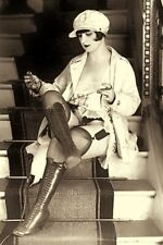 """1920's Woman Lacing Up Sexy High Heel Fetish Boots 4""""x6"""" Reprint Photo SL21"""