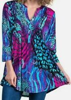 LA CERA Paisley Jungle Multi-colored Print Stretch Tunic Size Large