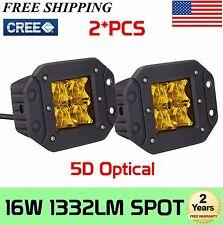 2X 16W CREE LED Yellow Pod Work Fog Light 5D Lens Spot for Truck ATV Flush Mount