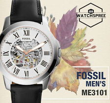 Fossil Grant Automatic Black Leather Watch ME3101
