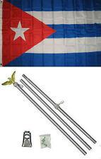3x5 Cuba Cuban Flag Aluminum Pole Kit Set 3'x5'