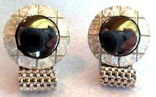 HICKOK USA Round Silver Mesh Hematite Cufflinks Vintage Perfect Estate Jewelry