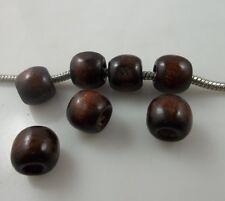 50pcs coffee Big hole wood Spacer bead