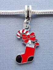 Pendant Dangle Christmas stocking Large hole fits European Charm Bracelet C171