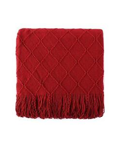 """Battilo Home Knit Diamond Patterned 52"""" x 80"""" Throw Red $78"""