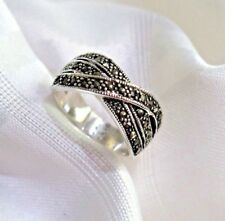 925 SOLID SILVER MARCASITE TRI-CROSS  RING SIZE 9