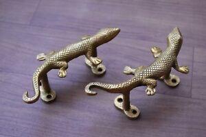 Vintage Brass Door Handle Lizard Heavy Gate Pull Drop Original Handle 2 Pcs