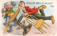 ALCOHOL COMIC TURNING THE TABLES EMBOSSED POSTCARD (c.1910)