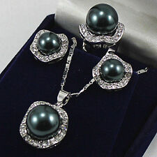 Pearl Earrings Ring & Necklace Pendant Set New 10mm &14mm Black South Sea Shell