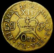 S723: 1689 (Oct:) Irish GUN MONEY Shilling, James II Civil War Coinage, S.6581E