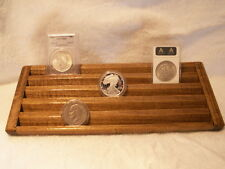 Encapsulated Coin Display Wood  5 Tiers->OAK Stain->Wide Rows for Plastic Cases