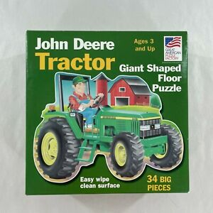 John Deere Tractor Giant Shaped Floor Puzzle 34 Piece 3' x 2' No Missing Pieces
