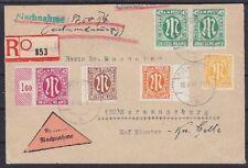 Bizone AM Post 31, 20, 21, 30, 6 MiF Nachnahme R-Brief Duderstadt - Hermannsburg