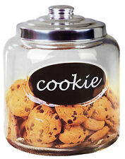 "Home Basics NEW Clear Glass Cookie Jar with word ""Cookie"" & Metal Top - CJ10439"