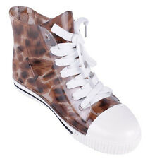 NEW Brown Leopard rubber clear jelly rain  ANKLE pull on booties BOOTS Size 6