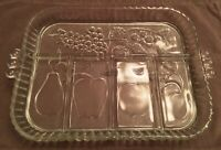 Vintage Indiana Glass Crystal Presentations Relish Tray 5 Part,