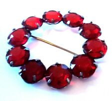 c.1930s Simple RUBY-RED GLASS BROOCH Czech OPEN-BACK Round Czech