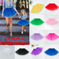 Women's Girl Princess Tulle Tutu Skirt Adult Kid Ballet Dance Party Mini Dress