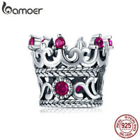 Bamoer S925 Sterling Silver charm Queen's Crown With CZ Fit Bracelet Jewelry