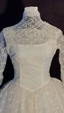 Vintage Ivory Net Lace & White Tulle Bridal Wedding Gown Delicate Bow Motif Sz S