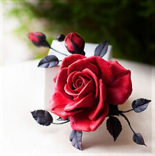 Flower Hair Clip wedding HANDCRAFTED polymer clay Red rose Bridal cute HANDMADE