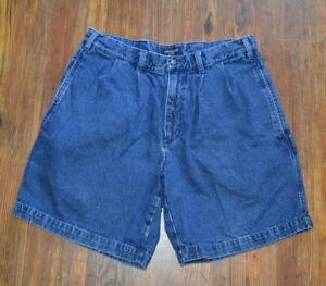 Dockers Khakis Vintage Men's Denim Jean Pleated Shorts Size 32