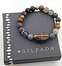 Silpada .925 Sterling Silver & Brass 'Wildwood' Agate & Wood Stretch Bracelet