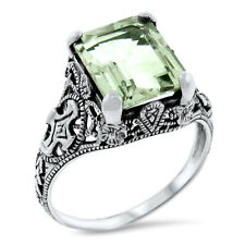 2.5 CT GENUINE GREEN AMETHYST 925 STERLING SILVER ANTIQUE STYLE RING        #959